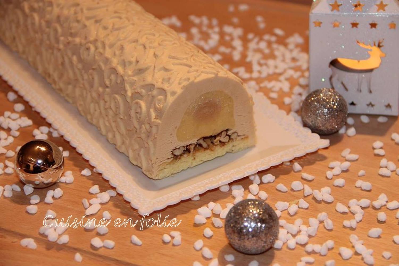 Buche de noel poire caramel noix