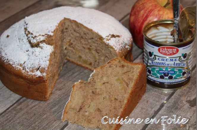 Cake à crème de marrons et pomme caramélisée
