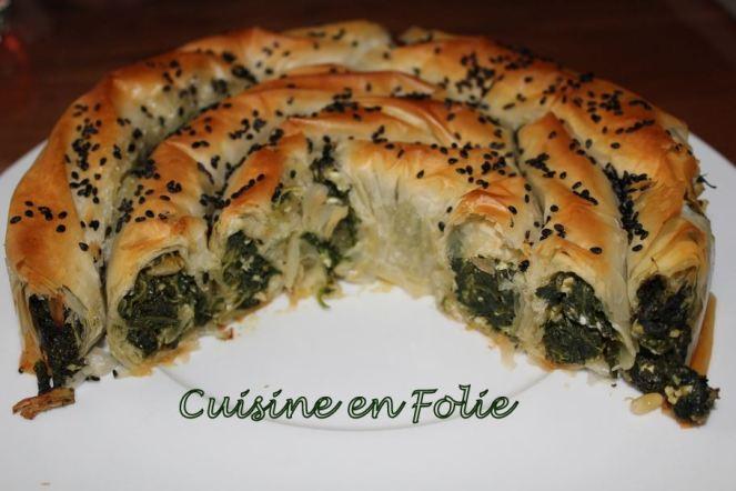 Börek aux épinards et pignons de pain