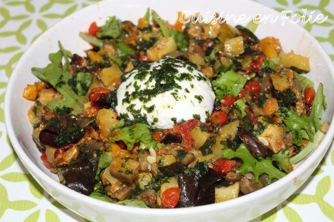 Salade de légumes confits au four et Burrata